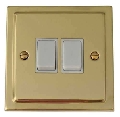 G&H TB2W Trimline Plate Polished Brass 2 Gang 1 or 2 Way Rocker Light Switch